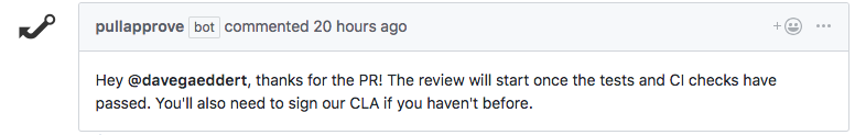 Pull request comment from PullApprove